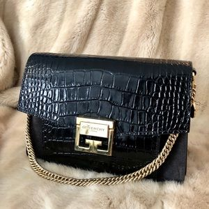 Givenchy GV3 Black Croco Embossed Shoulder Bag